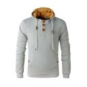 Buttons Down Collar Long Sleeve Plain Fashion Comfort Hoodie