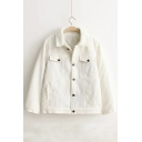 Winter's New Arrival Lapel Collar Long Sleeve Single Breasted Corduroy Coat