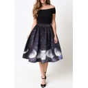 Hot Fashion Galaxy Moon Pattern Elastic Waist Midi Flared Skirt