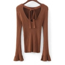 Bow Tie V Back Round Neck Flared Long Sleeve Knit Simple Plain Slim Sweater