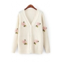 Chic Beaded Floral Embroidered V Neck Long Sleeve Buttons Down Knit Cardigan