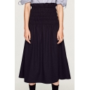 New Arrival Ruched Elastic Waist Plain Maxi Skirt