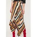 New Stylish Striped Color Block Asymmetric Wrap Skirt