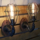 Industrial Loft Vintage Wall Sconce with Black Wire Cage, Uplighting