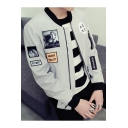 New Arrival Fashion Letter Patched Casual Leisure Long Sleeve Zip Up Jacket