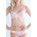 New Arrival Fashion Sexy Sheer Lace Floral Embellished Bra Set