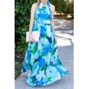 Summer's Fashion Floral Printed Halter Neck Sleeveless Maxi Beach Dress