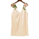 Chic Floral Applique Straps Plunge Neck Sleeveless Mini Shift Dress