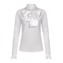 Long Sleeve Ruffle Cuff High Neck Bow Tie Plain Pullover Blouse