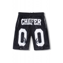 Summer's Chic Letter Pattern Elastic Waist Loose Casual Sports Shorts