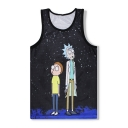 Cartoon Character Pattern Round Neck Sleeveless Breathable Sports Tank