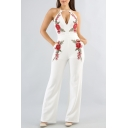 Hot Fashion Sleeveless Chic Floral Embroidered Plunge Neck Wide Legs Jumpsuits