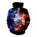 Hot Fashion Digital Galaxy Printed Long Sleeve Unisex Hoodie with Pockets