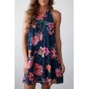 Summer's Floral Printed Spaghetti Straps Sleeveless Midi Swing Slip Dress