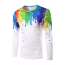 New Stylish Splash-Ink Printed Round Neck Long Sleeve Leisure T-Shirt