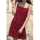 Basic Simple Retro Spaghetti Straps Sleeveless Plain Mini Slip Dress
