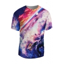 Hot Popular 3D Galaxy Astronaut Printed Round Neck Short Sleeve T-Shirt