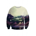 Beautiful Mountains Print Round Neck Long Sleeve Pullover Sweatshirt