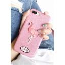 Girls' Pink Glitter Flamingo Print Soft iPhone Case