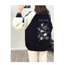 Embroidered Floral Pattern Round Neck Long Sleeve Zipper Cardigan
