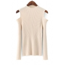 New Arrival Sexy Cold Shoulder Round Neck Long Sleeve Plain Slim Sweater
