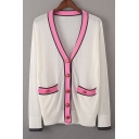 Fashion Color Block Long Sleeve Comfort Buttons Down Cardigan with Pockets