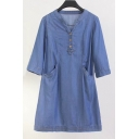 Basic Plain Buttons Down V Neck Long Sleeve Midi Loose Swing Dress with Double Pockets