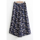 Elastic Waist Summer's Floral Printed Loose Wide Legs Chiffon Culottes Pants