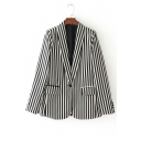 Lapel Collar Long Sleeve Black&White Striped Printed Blazer Coat with Single Button