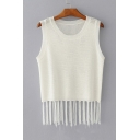 Fashion Tassel Hem Round Neck Sleeveless Plain Hollow Out Tank Sweater