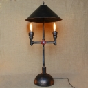 Industrial Cone Shaped Table Lamp in Black Finish 33'' High, 2 Lights Uplighting