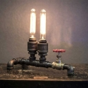 Industrial Vintage Water Valve Table Lamp with Bare Bulbs, 2 Lights Uplighting