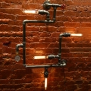 Industrial Pipe Wall Sconce in Black Finish with Valve and Pressure Gauge Accent, 4 Lights
