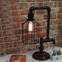 Indsutrial Metal Cage Table Lamp in Black Finish, 19.6'' Height