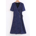 Fashion Polka Dots Short Sleeve V-Neck Button Down Maxi Wrap Dress