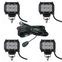 4 Inch Off Road LED Light Bar 18W 60 Flood Beam Car Light For Off Road, Truck, 4WD, BOAT, JEEP, Pack of 4