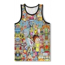 New Arrival 3D Cartoon Printed Round Neck Sleeveless Sports Loose Tank Tee
