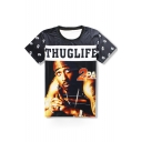 Hip Hop Style 3D Singer Printed Round Neck Short Sleeve Casual Loose T-Shirt