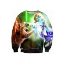 3D Fighting Cat Pattern Long Sleeve Round Neck Pullover Sweatshirt