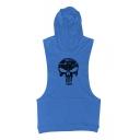 Summer's Hot Fashion Printed Hooded Sleeveless Casual Sports Tank Tee