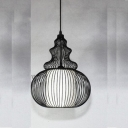 Industrial Hanging Pendant Light with Lagenaria Shade Wire Net Metal Cage for Indoor Lighting