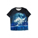 New Fashion Moon Wolf Animal Printed Round Neck Short Sleeve Loose T-Shirt