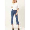New Arrival Chic Pearl Embellished Hem High Waist Skinny Capris Jeans
