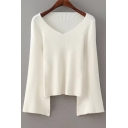 New Trendy V Neck Long Sleeve Flared Sleeve Plain Pullover Sweater
