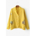Flying Birds Embroidered Chic Hollow Out Long Sleeve Buttons Down Cardigan