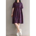 Classic Plaids Printed Short Sleeve Buttons Down Midi Linen Swing Shirt Dress