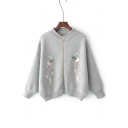 Chic Floral Birds Embroidered Long Sleeve Comfort Zip Up Cardigan