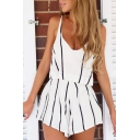 Women's Vertical Striped Plunge V-neck Sleeveless Top with One Shorts