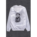 New Fashion Sketch Character Printed Back Hooded Long Sleeve Zip Up Coat