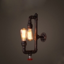 Industrial Pipe Wall Sconce in Antique Bronze Finish, 2 Lights